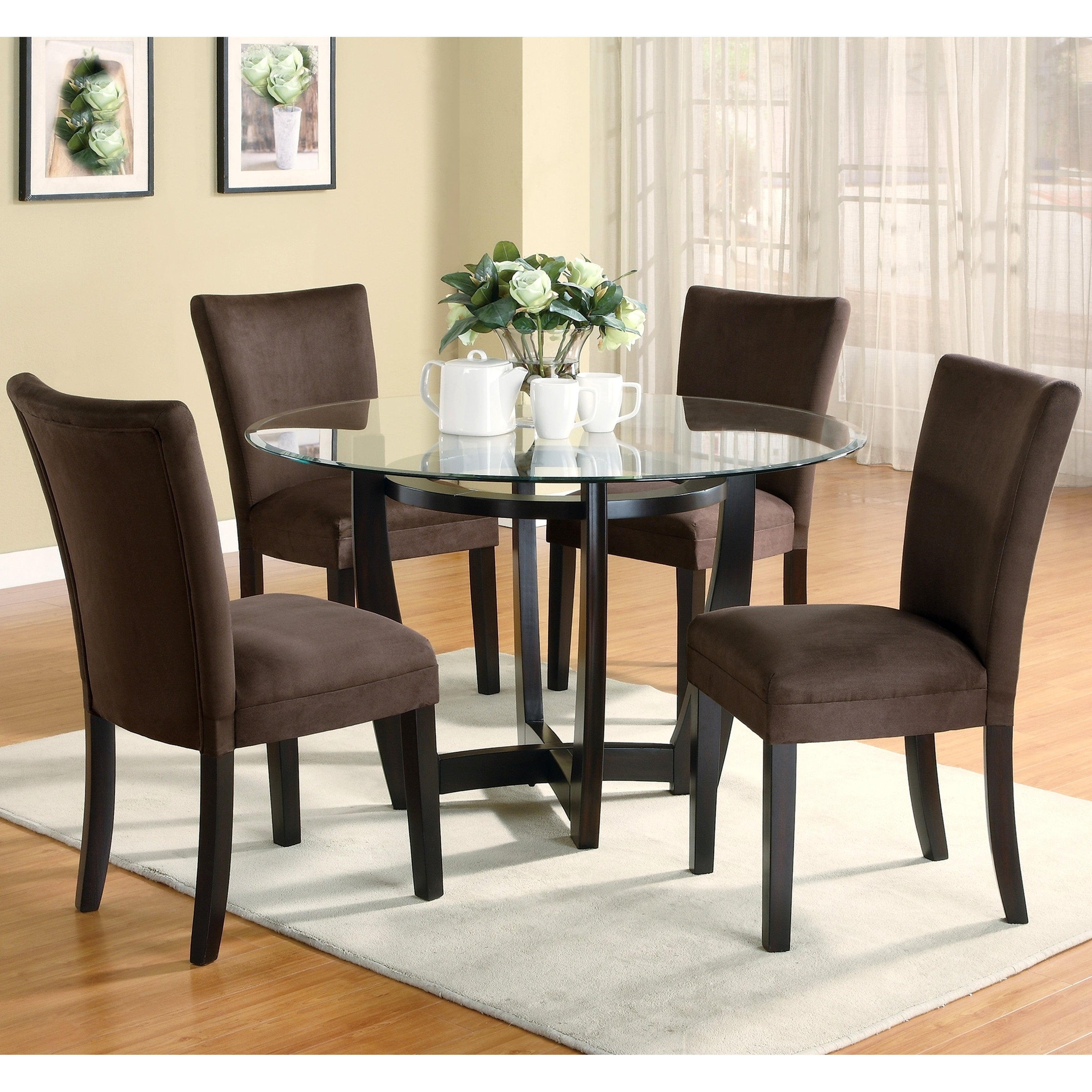 Mirage Round Glass Top Table /Chocolate Microfiber Parson...