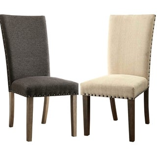 Platinum Microfiber Parson Chairs with Nailhead Trim (Set of 2)