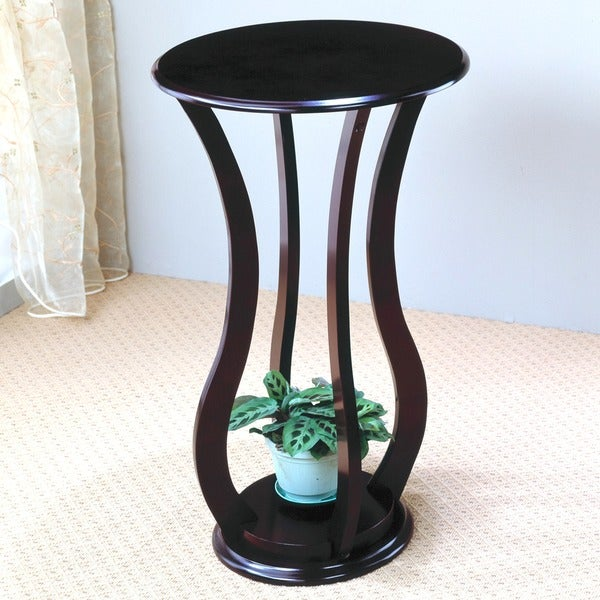 Nice Rajan Curved Design Espresso Plant Stand/ Side Table