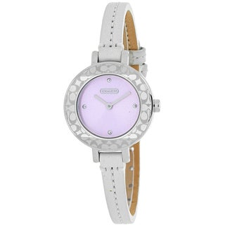 Coach Women's 14501405 Classic Round White Leather Strap Watch
