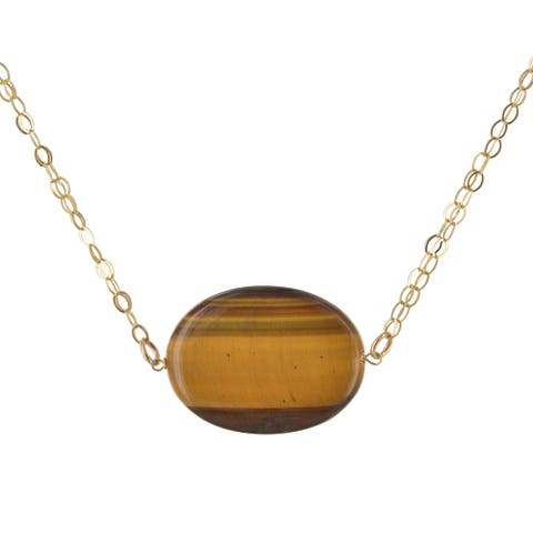 Ashanti Oval Tiger's Eye Gemstone 14 Karat Gold Filled Handmade Necklace (Sri Lanka)