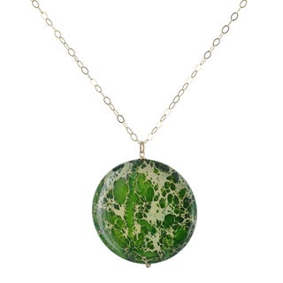 Ashanti Green Jasper 90 Carat Round Gemstone 14K GF Handcrafted Necklace