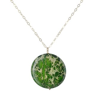 Ashanti Green Jasper 90 Carat Round Gemstone Gf Handmade Necklace (Sri Lanka)