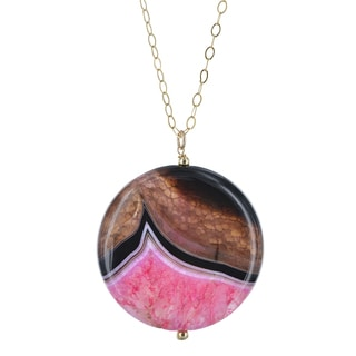 Ashanti 14k Gold Filled Pink and Black Agate Round Large Gemstone Handcrafted Necklace