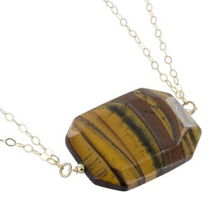 Ashanti Tiger's Eye Emerald Cut 95 Carat Gemstone 14 Karat Gold Filled Handcrafted Necklace