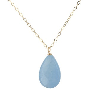 Ashanti Aqua Jade Pear Gemstone 14K GF Handmade Necklace (Sri Lanka)