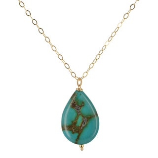 Handmade Ashanti Turquoise Gemstone Gold-Filled Handmade Necklace (Sri Lanka)