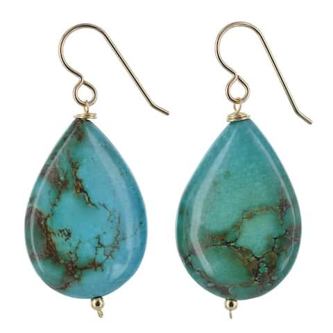 Turquoise Gemstone 14K GF Handmade Earrings