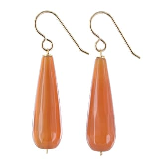 Ashanti Orange Agate Gemstone 14K GF Handmade Earrings