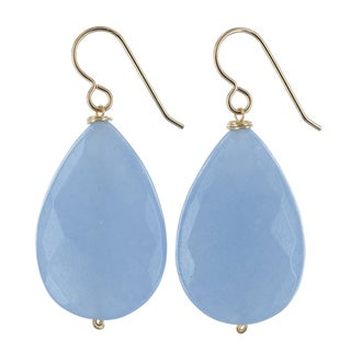Ashanti Aqua Jade Gemstone 14K Gold Filled Handmade Earrings