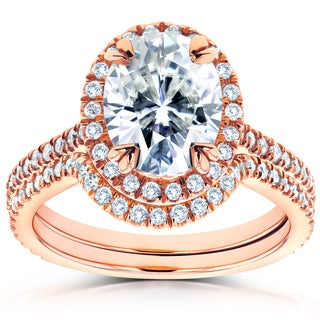Annello 14k Rose Gold Oval Moissanite and 1/2ct TDW Diamond Halo 2-Piece Bridal Rings Set (G-H, I1-I2)