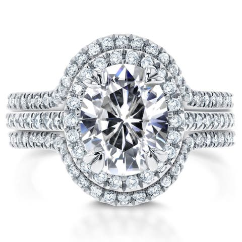 Annello by Kobelli 14k White Gold Oval Moissanite and 3/4ct TDW Diamond Halo 3-Piece Bridal Rings Set