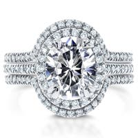Annello by Kobelli 14k White Gold Oval Moissanite (HI) and 3/4ct TDW Diamond Halo 3-Piece Bridal Rings Set