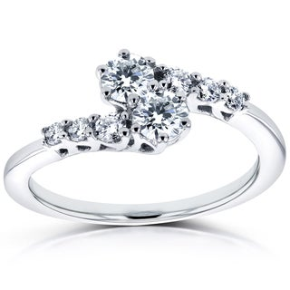Annello by Kobelli Two 14k White Gold 1/2ct TDW Diamond Two-Stone Prong Set Curved Ring
