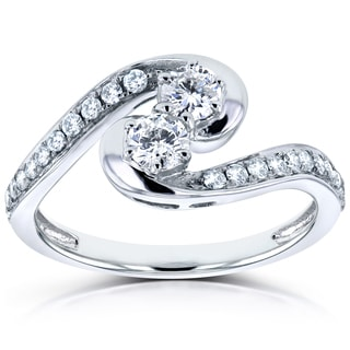 Annello by Kobelli Two 14k White Gold 1/2ct TDW Diamond Two-Stone Swirl Curved Ring
