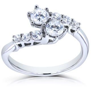 Annello Two 14k White Gold 1ct TDW Diamond Two-Stone Prong Set Curved Ring (H-I, I1-I2)