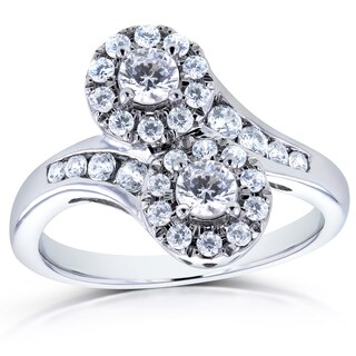 Annello by Kobelli Two 14k White Gold 1ct TDW Diamond 2 Stone Curved Ring