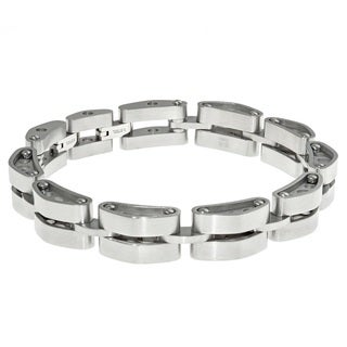 "Stainless Steel ""Tank"" Link Bracelet with Lock Extender"