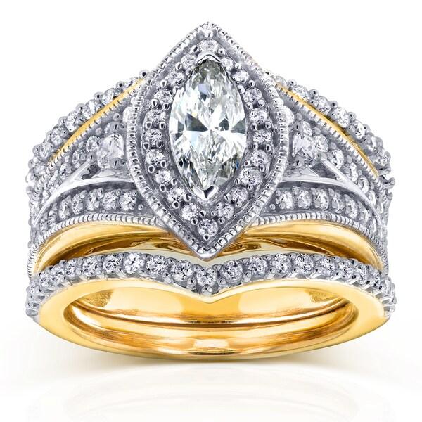 Art Deco Unique Diamond Wedding Ring 14k Two Tone Gold: Shop Annello By Kobelli 14k Two Tone Gold Marquise 1 1/3ct
