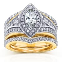 Annello by Kobelli 14k Two Tone Gold Marquise 1 1/3ct TDW Diamond Art Deco 3-Piece Chevron Bridal Se