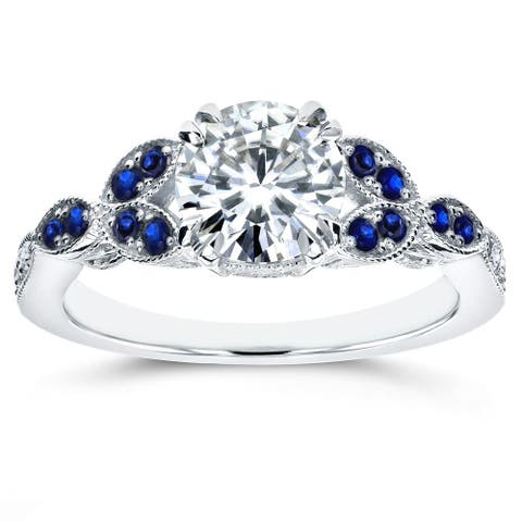 Annello 14k White Gold 1 1/5ct TGW Moissanite and Blue Sapphire, Diamond Vintage Floral Engagement Ring (GH/VS, GH/I)