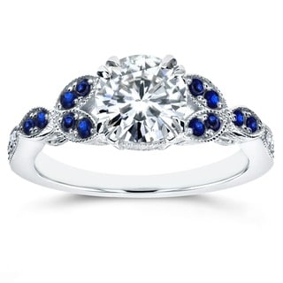 Annello by Kobelli 14k White Gold Moissanite and Sapphire Floral Engagement Ring