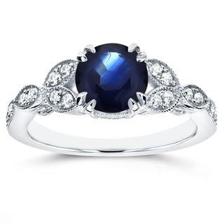Annello by Kobelli 14k White Gold Blue Sapphire and 1/5ct TDW Diamond Antique Engagement Ring