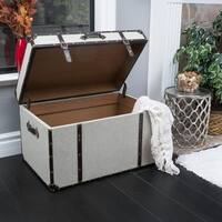 Fontana Brown Leather Trim Beige Upholstered Storage Trunk