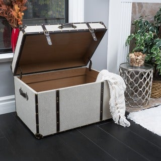 Incroyable Fontana Brown Leather Trim Beige Upholstered Storage Trunk