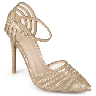 Journee Collection Women's 'Fancy' Ankle Strap Mesh Pumps