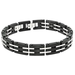 Stainless Steel Men's Link Bracelet with Black Ip Plating
