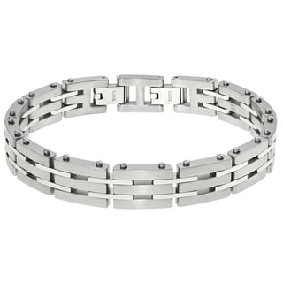 Stainless Steel Men's Link Bracelet with a Lock Extender