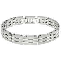 Stainless Steel Men's Link Bracelet with a Lock Extender