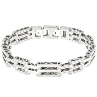 "Stainless Steel ""Bridge"" Link Bracelet with a Lock Extender"