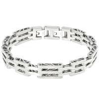 "Stainless Steel ""Bridge"" Link Bracelet with  a Lock Extender"