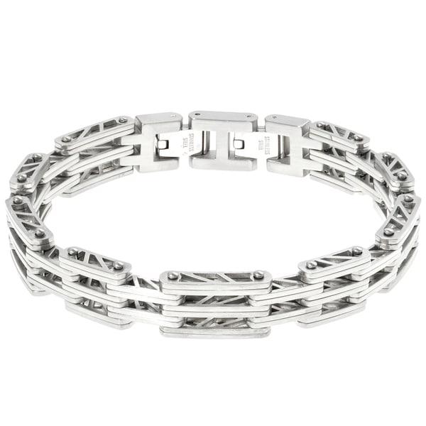 Fine Jewelry Mens Black IP Stainless Steel Chain Bracelet with Lock Extender usP4YbLL