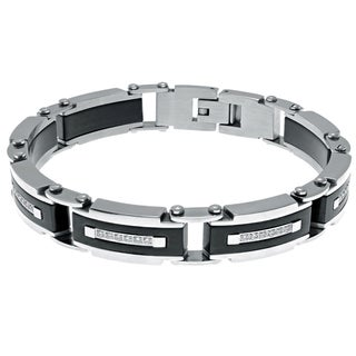 Stainless Steel Cubic Zirconia Black-plated Men's Bracelet