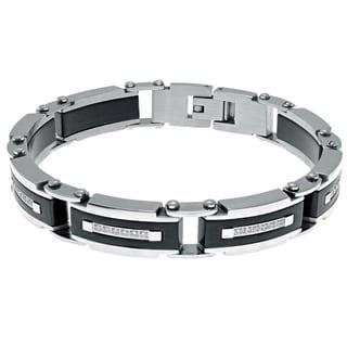 Stainless Steel Cubic Zirconia Black-plated Men's Bracelet