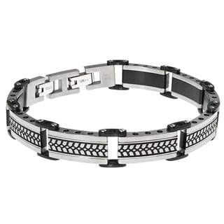Stainless Steel Men's Textured Bracelet with Black Ip Plating
