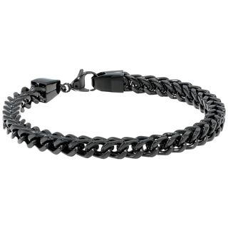 Black-plated Stainless Steel Wheat Chain Bracelet (6mm)