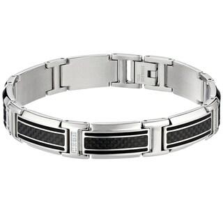 Stainless Steel Men's Carbon Fiber 1/10ct TDW Diamond Bracelet (H-I, I2-I3)