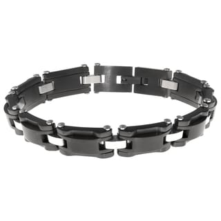 Black Ion Plated Stainless Steel Men's Bracelet