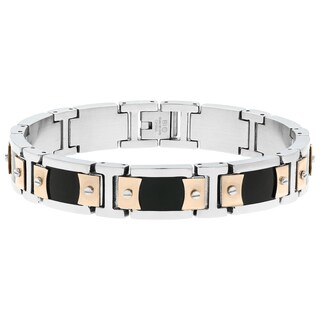 Stainless Steel Link Bracelet with Resin and Rose Ion Plating Accent