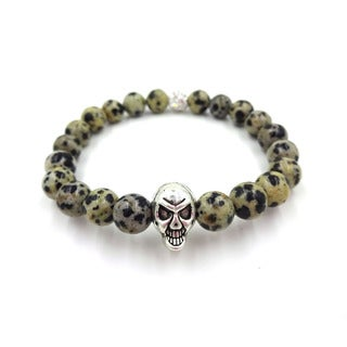 Something Strong Men's 8mm Zinc Alloy Spot Stone Skull Bracelet