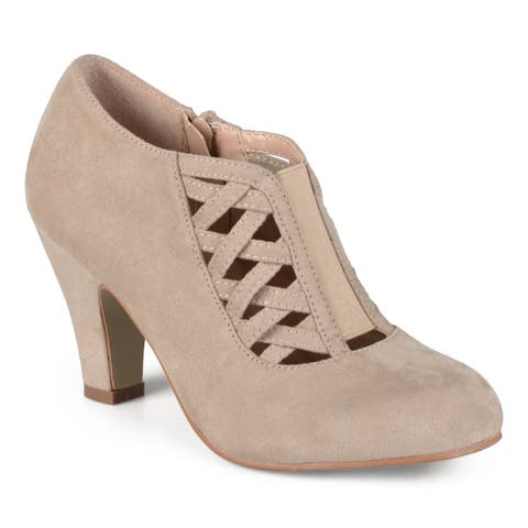e1339da76d68 Journee Collection Women's Piper Faux Suede Round Toe High Heel Bootie