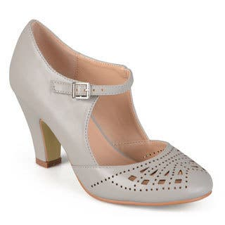 Journee Collection Women's 'Elsa' Round Toe Cutout Mary Jane Pumps