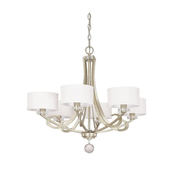 Capital lighting hutton collection 6 light winter gold chandelier