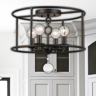 Crystorama Cameron Collection 4-light English Bronze Flush Mount