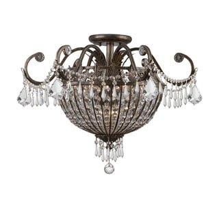 Crystorama Vanderbilt Collection 9-light English Bronze Flush Mount Fixture