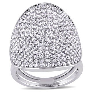 Miadora Sterling Silver White Sapphire Geometric Cluster Ring